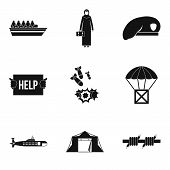 Collateral Damage Icons Set. Simple Set Of 9 Collateral Damage Vector Icons For Web Isolated On Whit poster