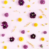 Flowers Composition. Pattern Made Of Colorful Flowers On Pink Background. Flat Lay, Top View, Square poster