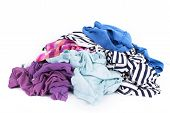 Big Heap Of Colorful Clothes Isolated On White Background poster