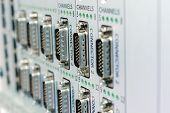 A Panel With A Lot Of Multi-pin Connectors. Telecommunication And Scientific Equipment. poster
