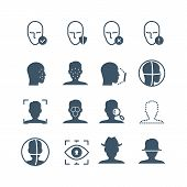 Face Recognition Safety Software Line Icons. Faces And Iris Biometrics Detection, Facial Laser Scann poster