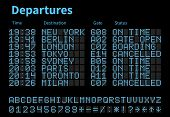 Departures And Arrivals Airport Digital Board Vector Template. Airline Scoreboard With Led Letters A poster