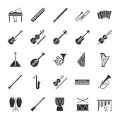 Musical Instruments Glyph Icons Set. Orchestra Equipment. Stringed, Wind, Percussion Instruments. Si poster