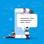 Chat Talk Concept Illustration. Young People Using Mobile Smartphone For Sending Messages To Each Ot poster