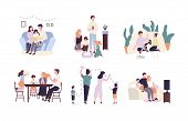 Family Members Spending Time Together At Home. Mother, Father And Children Reading Book, Decorating  poster