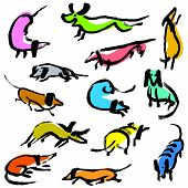 Hand Drawn Doodle Dachshund Dogs. Illustration Set With Playing Sniffing, Sitting, Standing, Running poster