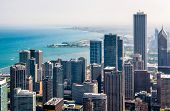 Chicago Skyline Top View With Skyscrapers At Michigan Lakefront, Illinois, Usa poster