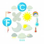 Weather Symbols Icons Set. Cartoon Illustration Of 16 Weather Symbols Vector Icons For Web poster