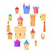 Castle Tower Icons Set Color. Cartoon Illustration Of 16 Castle Tower Color Vector Icons For Web poster