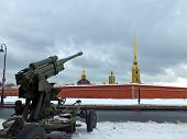 Vintage Machine Gun Aimed At City Fortress. Old Soviet Machinegun On Position. Old Army Cannon From  poster