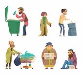 Poor And Homeless Adults People. Vector Characters Set. Homeless Dirty, Poor Beggar, Hungry Adult Wi poster