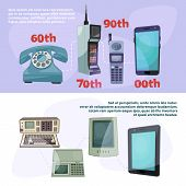 Visualization Of Technological Progress. Banners Set With Different Retro Gadgets. Device Gadget Pro poster