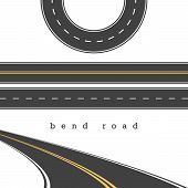 Bend Road, Straight And Curved Roads Vector Set, Road Junction. Vector Illustration. White And Yello poster