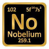 Periodic Table Element Nobelium Icon On White Background. Vector Illustration. poster
