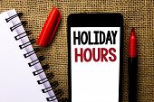 Handwriting Text Holiday Hours. Concept Meaning Celebration Time Seasonal Midnight Sales Extra-time  poster
