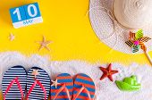 May 10th. Image Of May 10 Calendar With Summer Beach Accessories. Spring Like Summer Vacation Concep poster