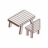 Camping Or Picnic Recreation Area Isometric Icon. Rest Area Illustration With Garden Wooden Table An poster