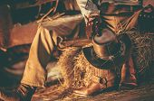 Caucasian Western Wearing American Cowboy Taking Rest Inside His Barn. Cowboy Leather Shoes And Hat. poster