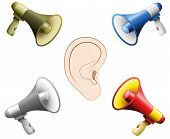 Hearing Damage Caused By Too Loud Noise. Symbolic Illustration For Hearing Damage, Tinnitus, Hearing poster