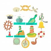 Nautical Sea Icons Set. Cartoon Illustration Of 16 Nautical Sea Vector Icons For Web poster