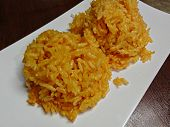 Steamed Yellow Rice In A White Plate Steamed Yellow Rice Is One Of The Traditional Foods In The Micr poster