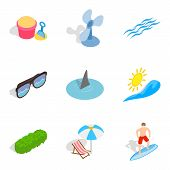 Peaceful Rest Icons Set. Isometric Set Of 9 Peaceful Rest Vector Icons For Web Isolated On White Bac poster