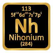 Periodic Table Element Nihonium Icon On White Background. Vector Illustration. poster