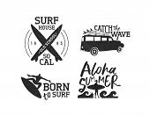 Vintage Old School Surf Label Set Isolated Over White, Summer Time Vacation Typography Quotes With B poster
