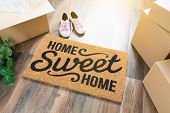 Home Sweet Home Welcome Mat, Moving Boxes, Pink Shoes and Plant on Hard Wood Floors. poster