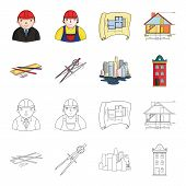 Drawing Accessories, Metropolis, House Model. Architecture Set Collection Icons In Cartoon, Outline  poster