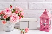St. Valentine Day Background. Bunch Of Tender Pink Roses Flowers,decorative Pink Lantern And Empty C poster