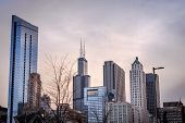 Downtown Chicago Skyline During Sunset, Shot During Spring poster