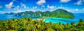 Thailand tropical vacation holidays concept background - panorama of tropical islands Phi Phi Don an poster