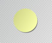 Paper Sticker With Shadow On Transparent Background. Round Stick. Post Sticky Note. Sticker Banner.  poster