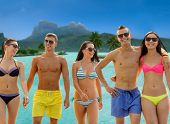 summer holidays, travel and vacation concept - group of smiling friends wearing swimwear and sunglas poster