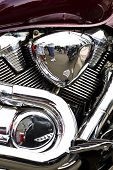image of crotch-rocket  - Side view of a custom motorcycle engine - JPG