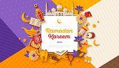 Ramadan Kareem Concept Horizontal Banner With Flat Sticker Icons On Modern Geometric Background. Vec poster