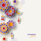Ramadan Kareem Concept Banner With Islamic Geometric Patterns. Vertical Border With Paper Cut Flower poster