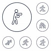Set Of 6 Sport Icons Line Style Set. Collection Of Athletics, Wrestling, Football And Other Elements poster