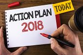 Conceptual Hand Writing Showing Action Plan 2018. Business Photo Text Plans Targets Activities Life  poster