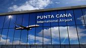 Jet Aircraft Landing At Punta Cana, Dominican Republic 3d Rendering Illustration. Arrival In The Cit poster