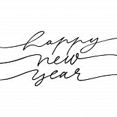 Happy 2020 New Year Calligraphy Phrase. Happy New Year Mono Line Inscription. Vector Ink Illustratio poster