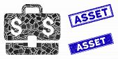 Mosaic Accounting Case Icon And Rectangle Stamps. Flat Vector Accounting Case Mosaic Icon Of Random  poster