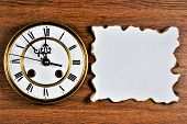 Vintage Clock Symbol Of Time, Reminiscent Of The Past And Future.paper Parchment With Dark Edges, Ba poster