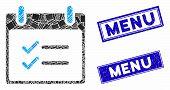 Mosaic Check Items Calendar Day Icon And Rectangular Rubber Prints. Flat Vector Check Items Calendar poster