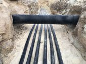 The High Voltage Electrical Cable Is Laid In A Trench poster