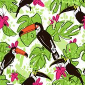 Tropical Hand Draw Seamless Pattern With Monstera Leaves, Parrots - Toucans, Pink Tropic Flowers, Mi poster