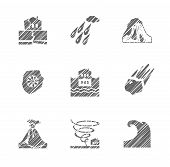 Weather, Natural Disasters, Monochrome Icons, Hatching, Vector. Images Of Various Natural Disasters. poster