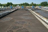 foto of wastewater  - one of settling tank in wastewater treatment plant - JPG
