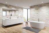 Light Tile Spacious Bathroom Corner, Tub And Sink poster